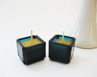 Stained Glass Small Beeswax Candles Set Of Two Tea Lights