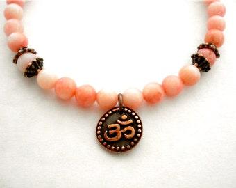 Pink Coral Yoga Bracelet, Pink Coral, Copper Ohm Charm, Beaded Bracelet