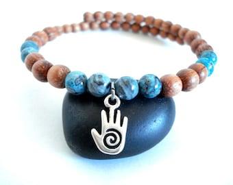 Mala Bead Yoga Bracelet, Blue Jasper, Silver Charm Yoga Bracelet