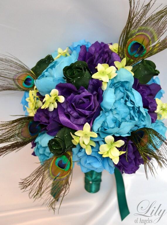 17 Piece Package Wedding Bridal Bride Bouquet Set By LilyOfAngeles