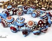 AV-Beads lampwork Bracelet in blue, red and ivory SRA