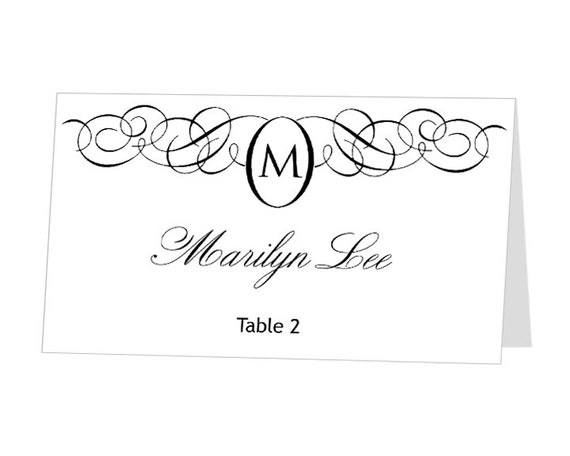 instant download avery place card template monogram design. Black Bedroom Furniture Sets. Home Design Ideas