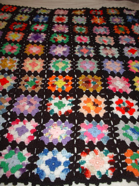 Fun, Bright and Colorful. Vintage Antique Crocheted Multi Color Granny Squares AFGHAN. Varigated yarn