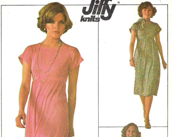Knit Maxi Dress Pattern : 1980s Stretch Knit Maxi Dress Pattern Simplicity by StitchySpot
