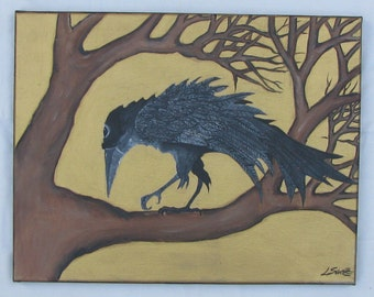 Crow Art 11x14 Original Bird Painting on Stretched Canvas