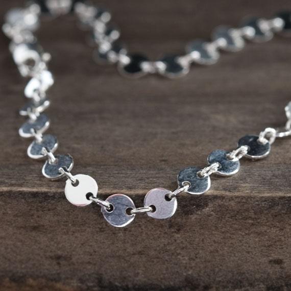 Tiny Silver Dots Bracelet / Simple Circle Link Chain Bracelet / Minimalist Sterling Silver Jewelry by burnish