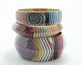 Three Bangle Bracelet -- Handmade Bracelet -- gift for her -- blue, white, pink, yellow, purple,brown - eteniren