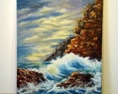 Vintage Ocean landscape Painting, waves and rocks, seashore