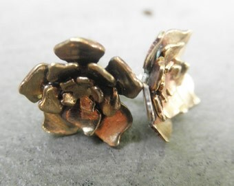 Cut Out Flower Earrings Brass with Sterling Silver Posts