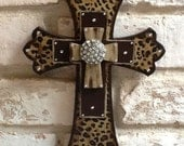 Leopard Print Cross Wall Cross Rhinestone Cross Leopard Home Decor Brown Wall Cross