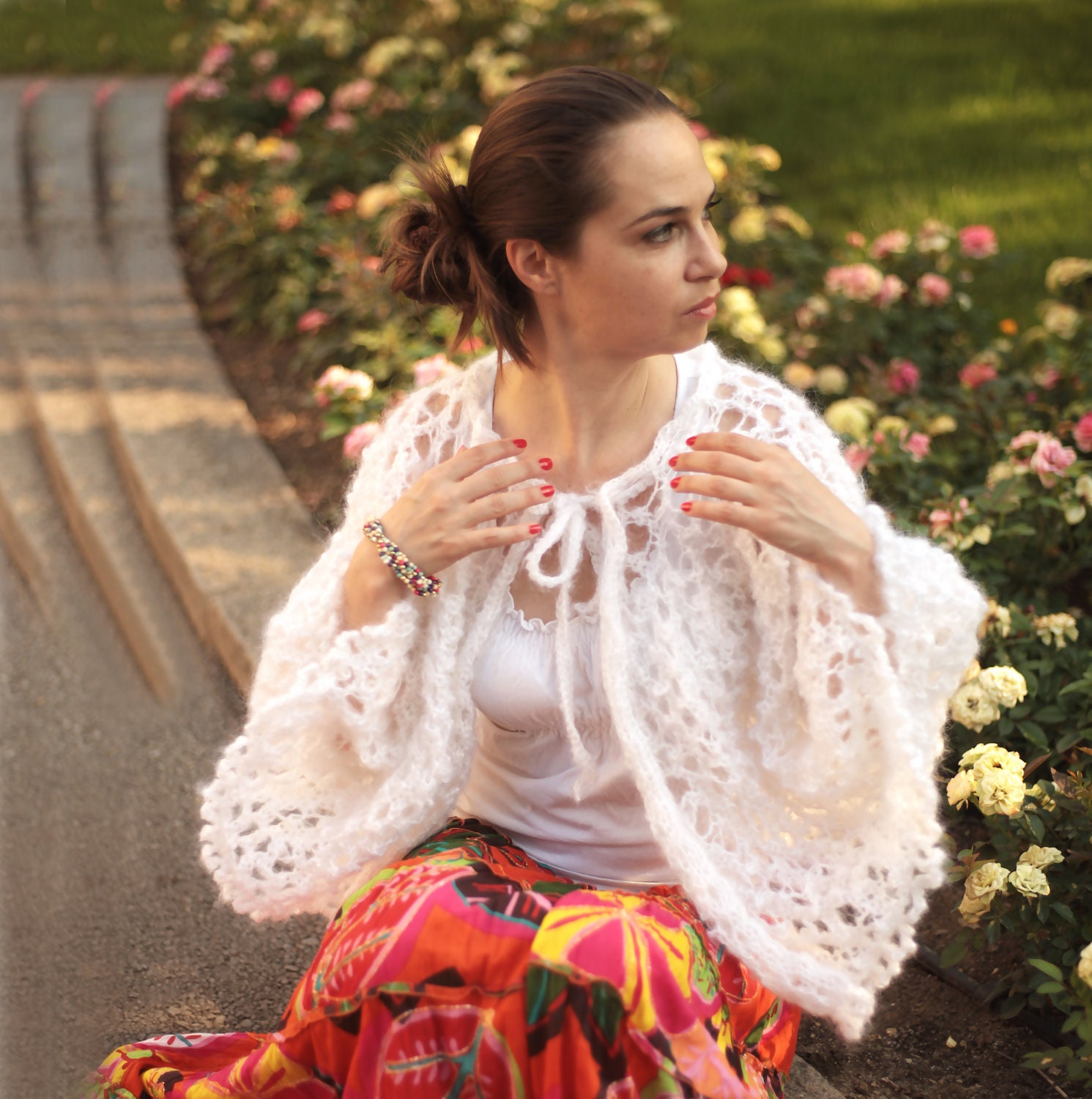 Hand Knit Mohair Wedding Cape/ Knitted Cape By By Solandia