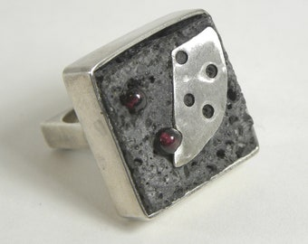 Designer Ring with Stones by Mexican Sculptress Sterling