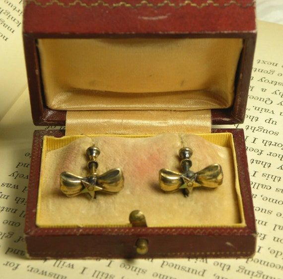 Bows and Stars Earrings Vintage 1930s Eastern Star
