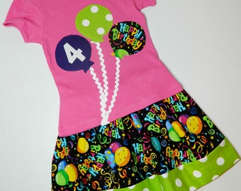 2 piece outfit Happy Birthday Girl, toddler, tween, and baby SKIRT, personalized SHIRT with purple, lime green balloons NB - 16