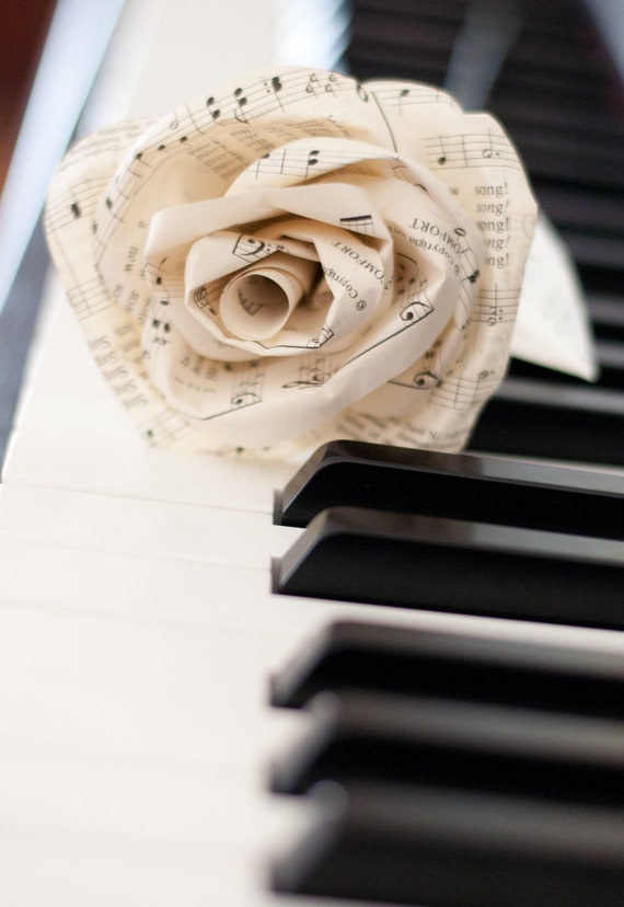 Paper Rose Made from a Vintage Hymnal Book Page