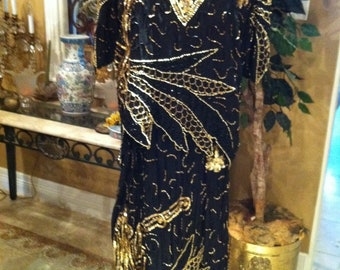 Glamorous  Gold And Black Sequin  two piece blouse and skirt