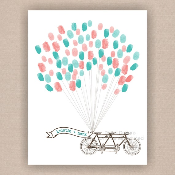 Thumbprint Guest Book Vintage Bicycle with Balloons- Digital File 18x24