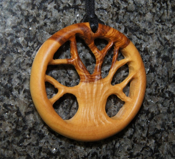 Olive Wood Necklace, wood jewelry, wood grain,Tree of Life