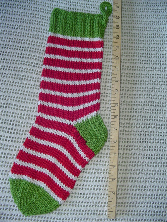 Christmas Stocking - Funky -  Hand Knit - FREE SHIPPING - CHRISTMAS in November