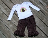 Girl's Ruffle Pant and Long Sleeve Shirt Outfit - Brown White Polka Dot Personalized Turkey Shirt
