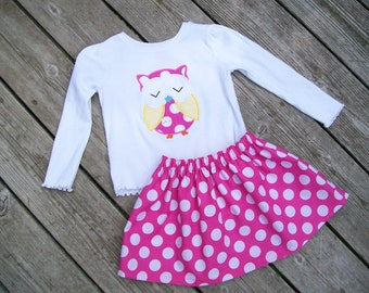 Girl's Toddlers Skirt and Shirt Outfit - Personalized Pink and White Polka Dot Skirt with Owl Applique