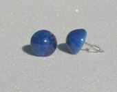 Vintage High Dome Lapis Lazuli Round Stud Earrings