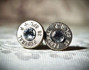 Bullet Stud Earrings -Gunpowder and Glitz- Silver and Crystal