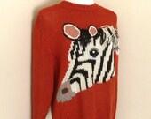 Vintage Zebra Sweater 1980's Rust 3 D Medium