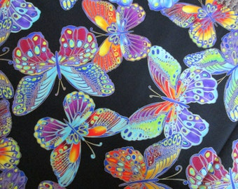 Dramatic Butterfly Shimmer Glitter Blue Black Cotton Fabric Fat Quarter or Custom Listing