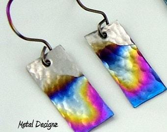 Rectangle Niobium Earrings