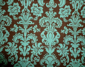Blue & Brown Damask Cotton Fabric by the Yard
