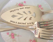 Cottage Chic Wedding Cake Server and Forks Set