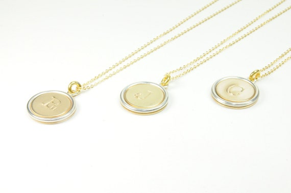 Set of Three Gold and Silver Initial Necklace/ Will you Be My Bridesmaid/ Thank You Gifts for Bridesmaids