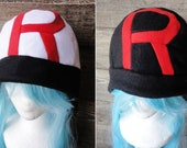 Team Rocket Hat - White or Black - Adult-Teen-Kid - A winter, nerdy, geekery gift!