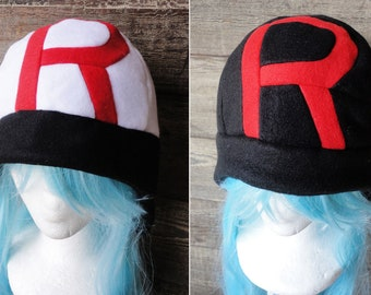 Team Rocket Hat - White or Black - Fleece Hat Adult, Teen, Kid - A winter, Christmas, nerdy, geekery gift!