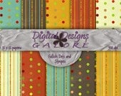 Fallish Dots and Stripes Digital Paper Pack Set of 10 -  Fall Brown, Orange, Green 12 x 12 Digital Paper Pack - Digital Designs Galore