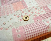 Linen Cotton Blended Fabric - Patch - Bird And Flora (pink) - Fat Quarter(21in x 19in) - LF072