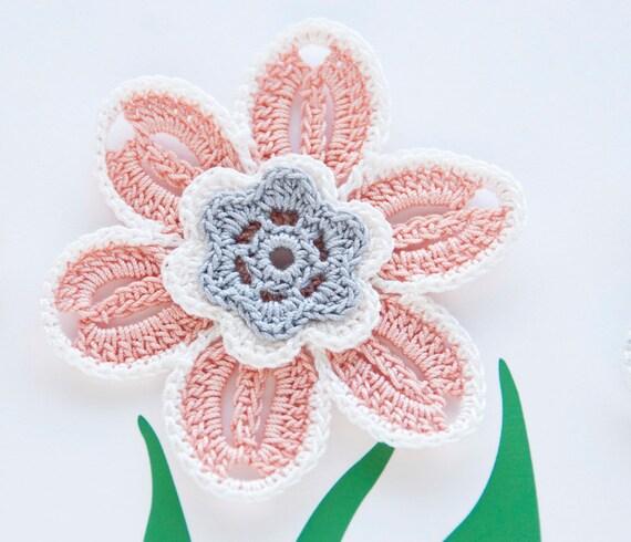 Crochet Flower Applique // Pastel Colors // Motif // Home or Fashion Decor