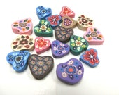 20 Fimo Polymer Clay  Flower Fimo Beads 25mm Variety Hearts 15mm-20mm