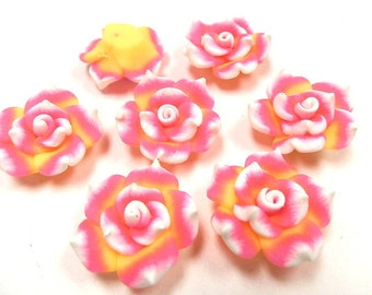 10 Fimo Polymer Clay Pink Fuschia Yellow  White Flower Rose Fimo Beads 25mm