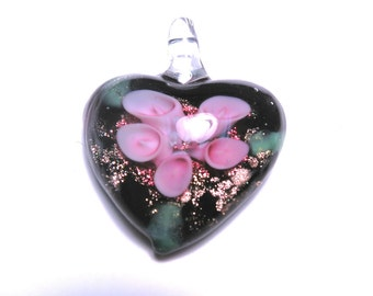 New Large Heart flower Glass Pendant 35mm Pink