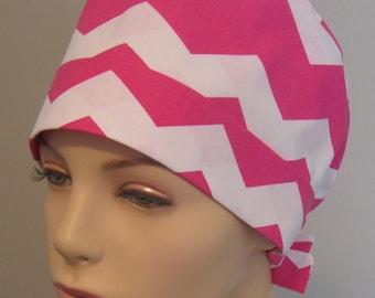Tie Back Scrub Hat Pink Chevron
