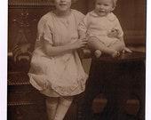 Big Sister and Baby Bro  - Blonde on Blonde Arts & Crafts Sepia tone studio portrait circa 1920
