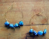 Turquoise and Purple Hoop Earrings