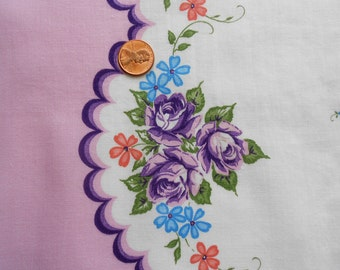 Violet Roses and Lavender Scallop on Vintage Fabric