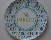 Alphabet Personalized Plate - Choose Your Colors - Personalized Melamine Plate - Personalized Birthday Plate