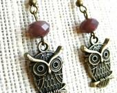 Owl Charm Earrings, Purple Beaded Earrings, Antique Bronze
