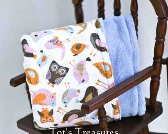 Owls and Birds Baby Blanket....Flannel and Minky....Ready to ship