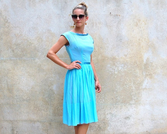 Reserved for Natalie 1950s summer dress -50s blue cocktail dress- 1950s retro summer day dress-  small