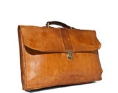 Distressed Vintage Handmade Leather Attache Case in Golden Brown